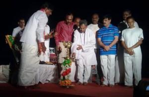 RSS Karnataka Pranth Sanghachalak M Venkataram inaugurated the Surya Namaskar campaign at Mysore Palace, early morning on Ratha Saptami Day.