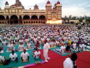 Surya Namaskar performed at Mysore Palace