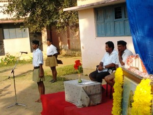 RSS Bangalore City secretary KS SHridhar speaks, Congress leader P Shivakumar seen