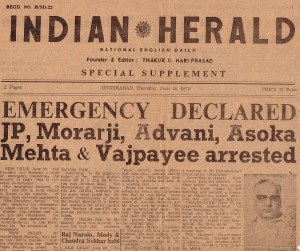Indian Herald, the newspaper carried the news of Emergency Declaration on June 26, 1975