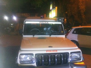 Police Jeep was attacked