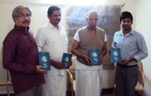 RSS Senior Pracharak Mai Cha Jayadev, RSS Pranth Pracharak Mukund released the book. Author Pratap Simha at extreme right.