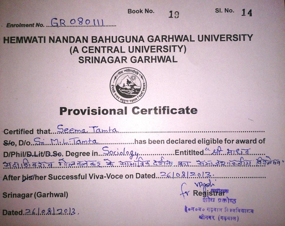 Dehradun: Seema Tamta conferred with Ph.D for her Studies on RSS's ...
