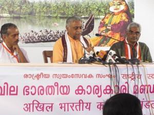 Dr Manmohan Vaidya briefed the Press.