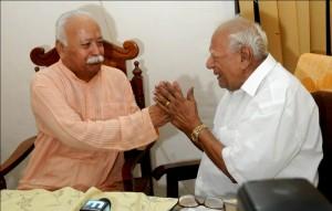 RSS Sarasanghachalak Mohanji Bhagwat today met Justice Krishna Iyer  in Kerala