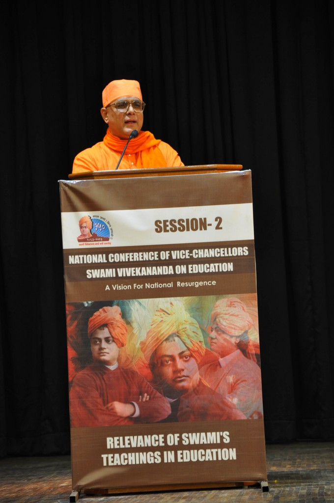 "Speech by Swami Atmapriyananda (Chancellor, Ramakrishna Mission Vivekananda University) on ""Relevance of Swamiji's Teachings in Education"""