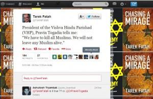 Tweet by Tarek Fatah on Dr Togadia on Nov-24-2013