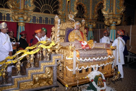 The scion of the royal family Srikanta Datta Narasimharaja Wadiyar in traditional robes during Private Darbar on the occasion of Dasara celebrations at Mysore Palace.
