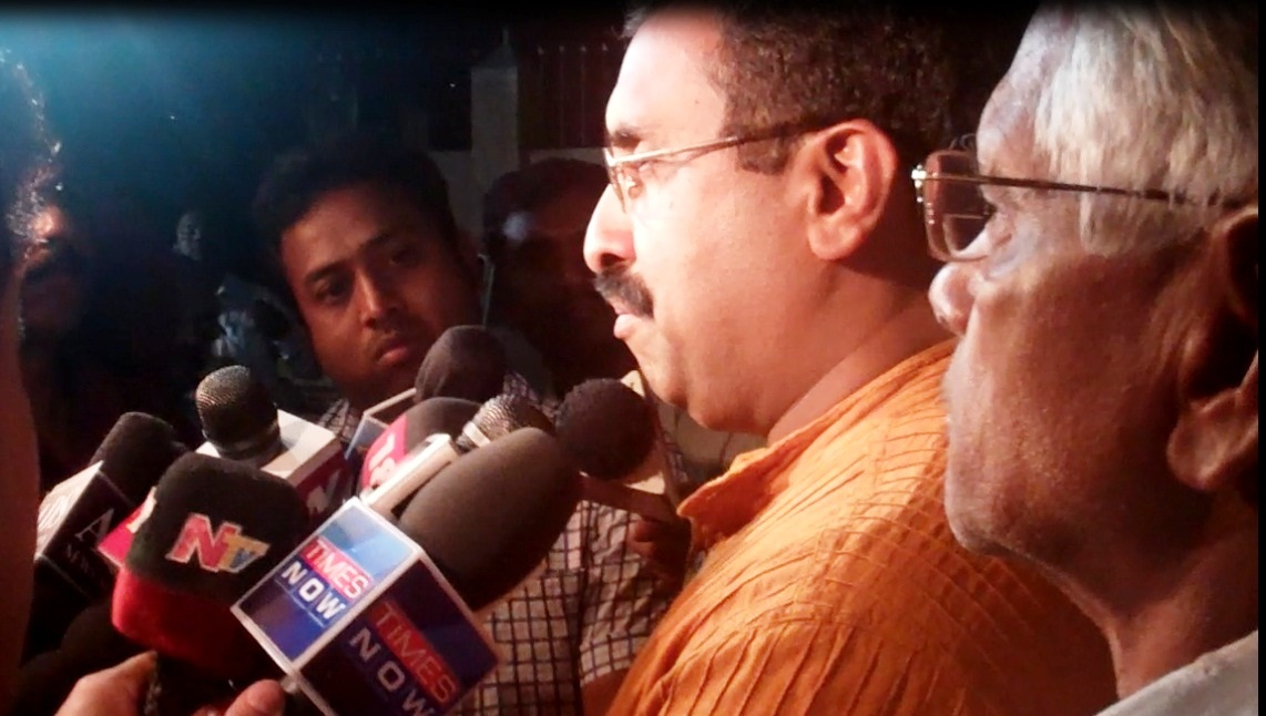Ram Madhav addressing the media after submitting the complaint to EC