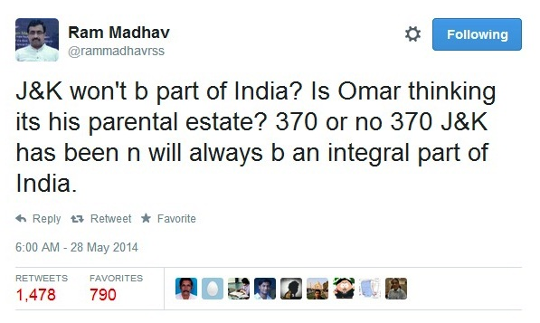 Ram Madhav on Omar May 28-2014