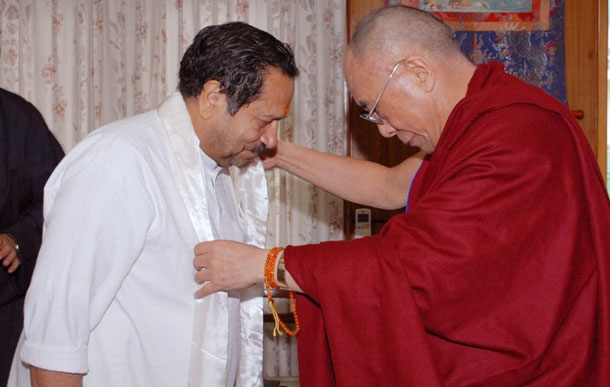 FILE PHOTO: His Holiness the Dalai Lama gave his blessing to Indresh Kumar, RSS leader on Friday, 27 May 2011.