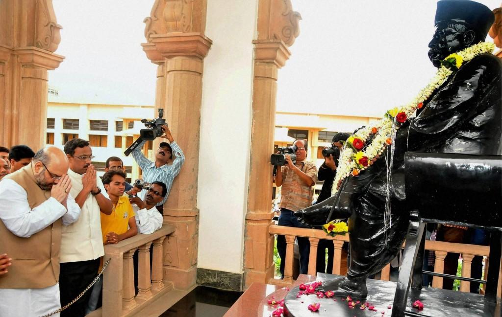 BJP ChiefAmit Shah paid his tributes to 'Smruti Mandir' Samadhi of RSS founder Dr Keshava Baliram Hedgewar on July 18, 2014