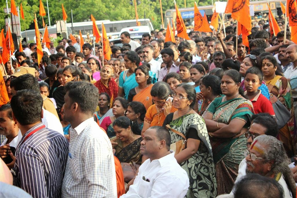 Hindu Organisations staged protest recently at Chennai, protesting the increased attacks on Hindu Leaders in Tamilnadu