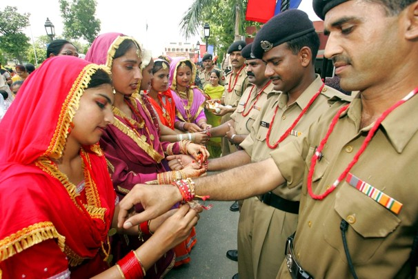 File Photo: Women celebrate Raksha Bandhan with tying Rakhi to Soldiers