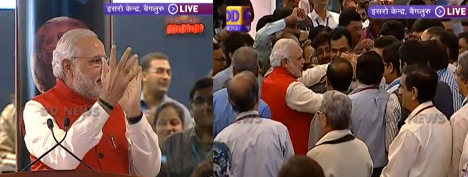 Prime Minister Narendra Modi congratulated ISRO scientists after successful Mangalyaan mission