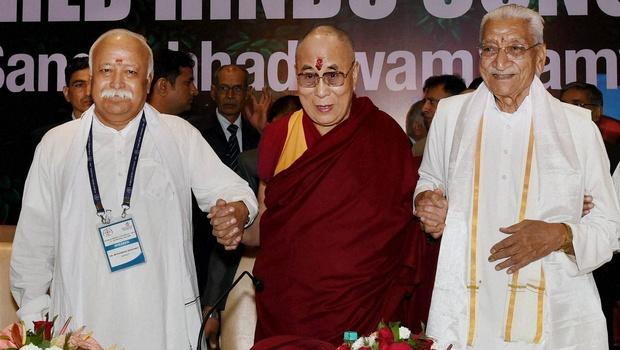 Tibetan spiritual leader the Dalai Lama RSS chief Mohan Bhagwat VHP leader Ashok Singhal at the inauguration of World Hindu Congress 2014 in New Delhi on Friday