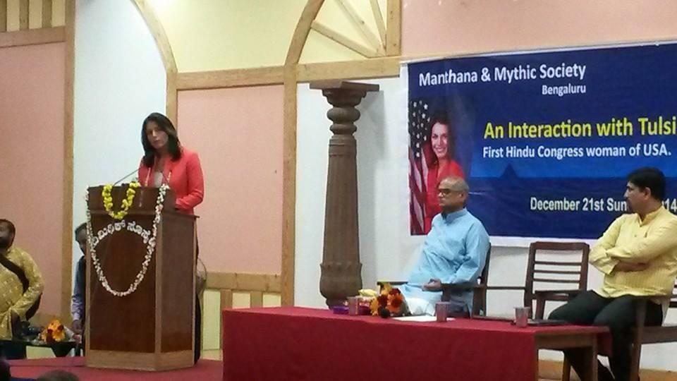 Tulsi Gabbard, First Hindu Congresswoman of USA interacts with Bengalurians