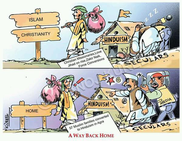 A Cartonn drew much attention on Twitter : Ghar Waspsi - Reactions of Media-Seculars.