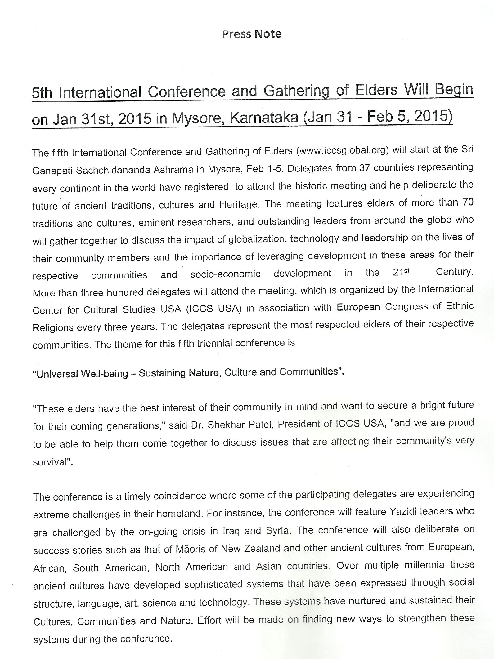Press Release-INTERNATIONAL CONFERENCE AND ELDERS MEET-MYSURU-2015