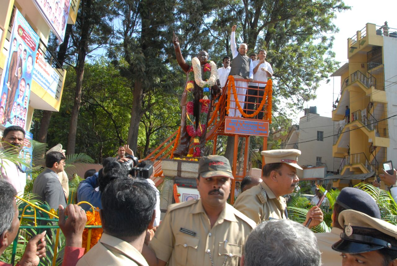 Governor VR Wala garlanded statue of Dr Ambedkar at Vimanapura, Bengaluru on April 14,2015