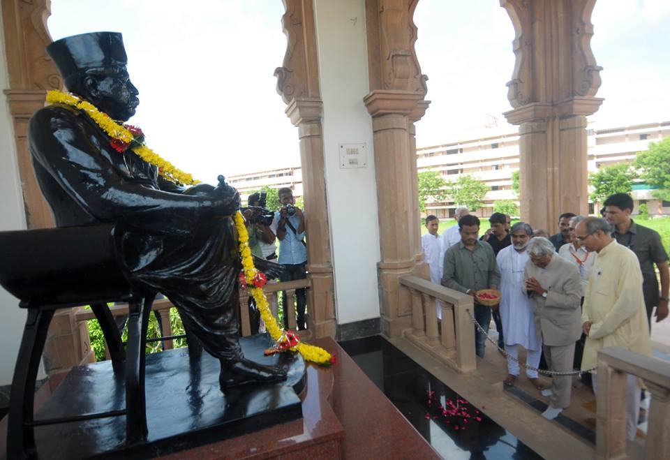 Dr APJ Abdul Kalam visited RSS headquarters near Reshimbagh Nagpur and offered tributes to RSS Founder Dr Keshav Baliram Hedgewar at 'Smruti Mandir' Nagpur July 31, 2014