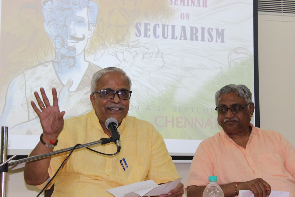 RSS Sarakaryavah Suresh Bhaiyyaji Joshi addressing at the Columnist Meet