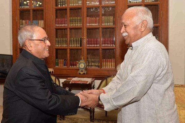 Moaha Bhagwat meets Pranab Mukherjee