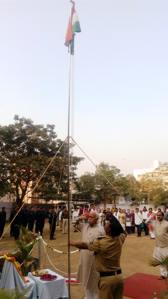 RSS Sarasanghachalak Mohan Bhagwat hoisted National Flag at Dr Hedgewar Bhavan, Nagpur January 26, 2016