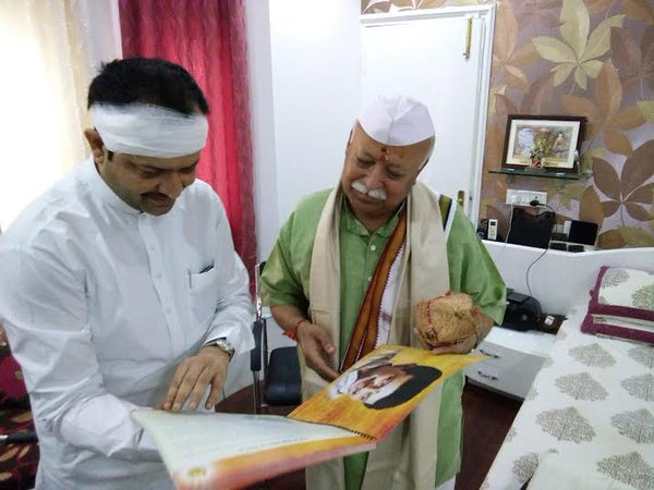 Mohan Bhagwat met Bhaiyyu Maharaj at Indore