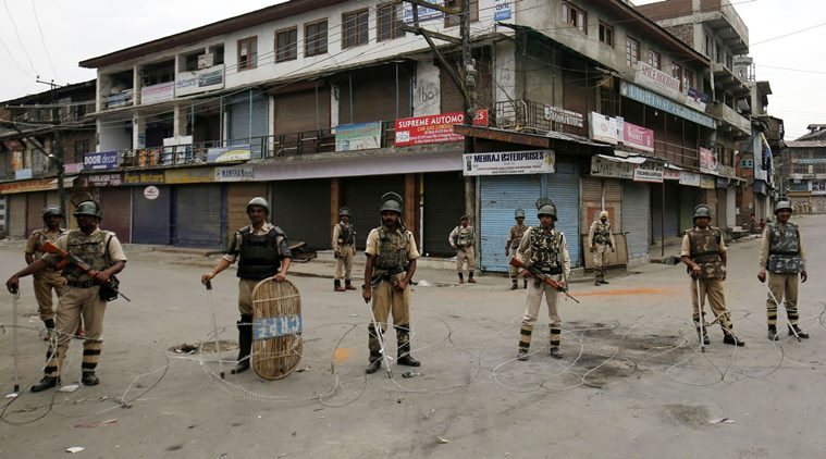 Three days after militant commander Burhan Wani was killed in south Kashmir, strict restrictions continue to remain inposed across Kashmir valley. .Express Photo by Shuaib Masoodi 11-06-2016