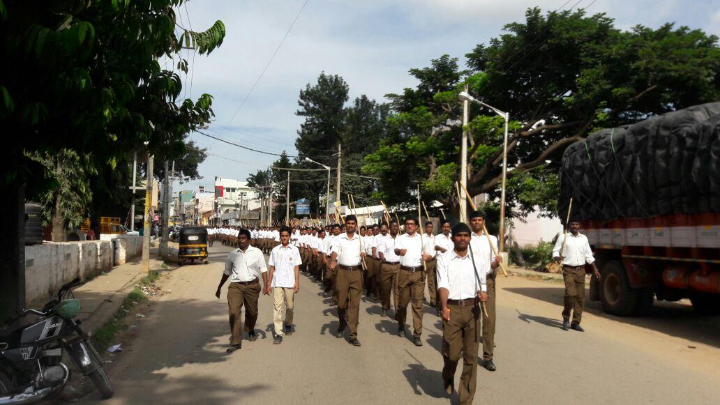 Attractive RSS Path Sanchalan (RouteMarch) held at streets of Tumakuru in Karnataka. A total of 335 youth attended