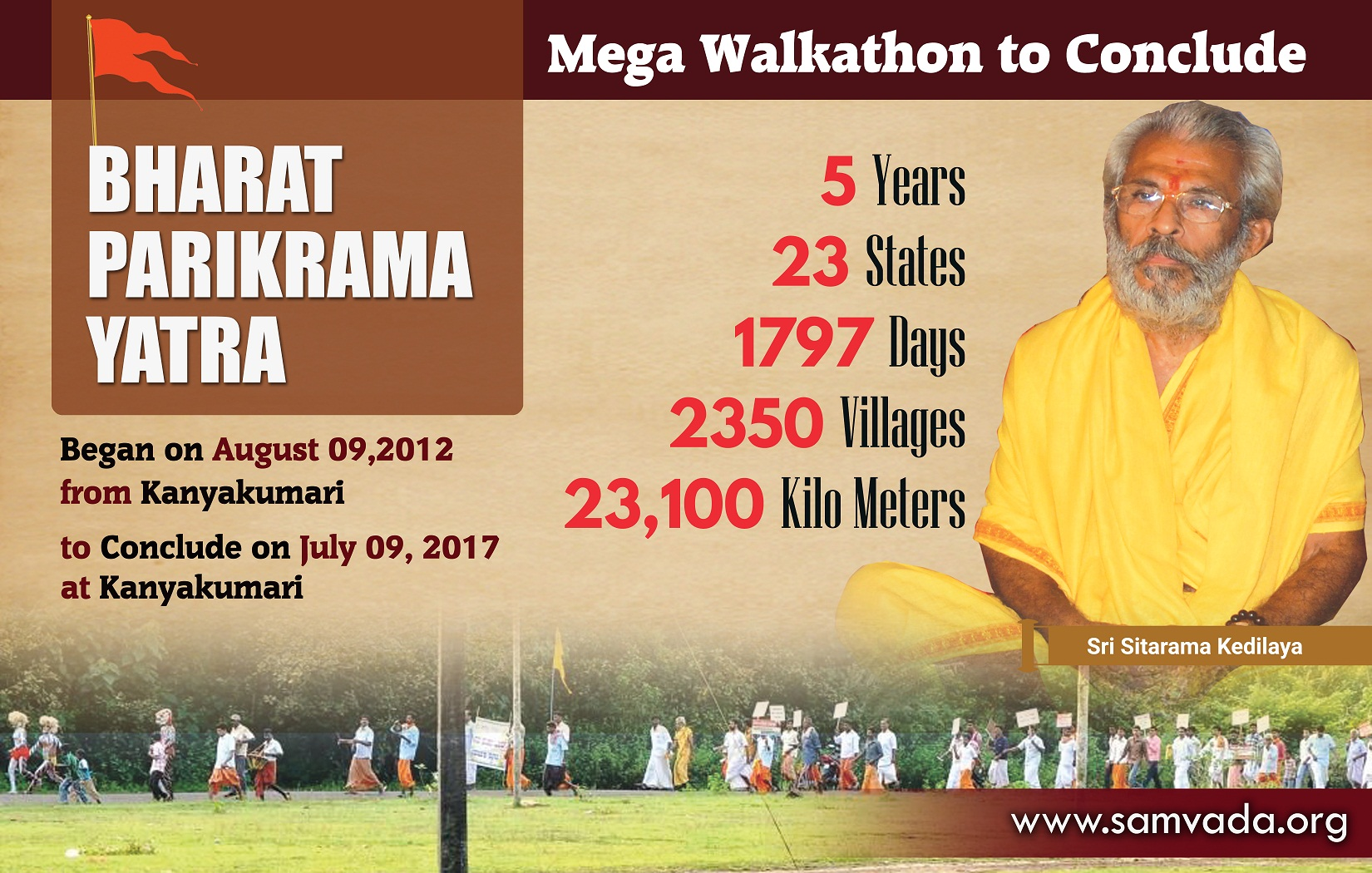 5 Years-23,100KM of Walkathon; BHARAT PARIKRAMA YATRA to conclude on July 9 at Kanyakumari; RSS Sarasanghachalak to attend Valedictory