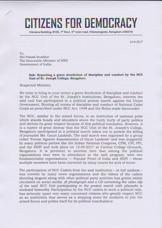Citizens for Democrary writes to Minister HRD over the NCC students taking part in protest against Union Government