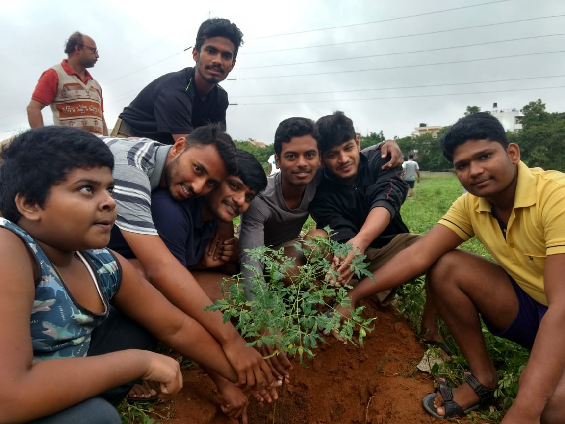 Seva sanghik: Planting saplings at Hebbal Veterinary College