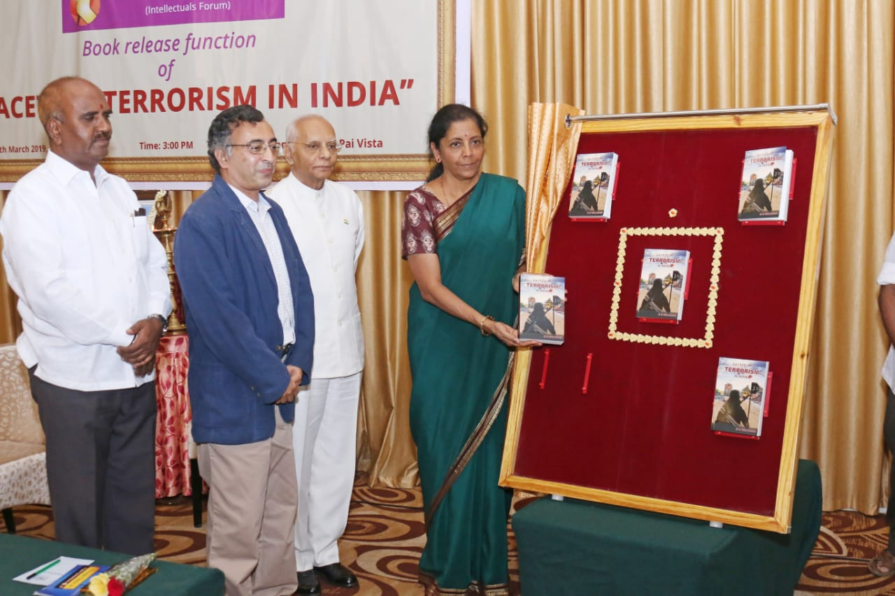 Mysuru: Defence Minister Smt Nirmala Sitharaman releases the book 'Facets of Terrorism in India'