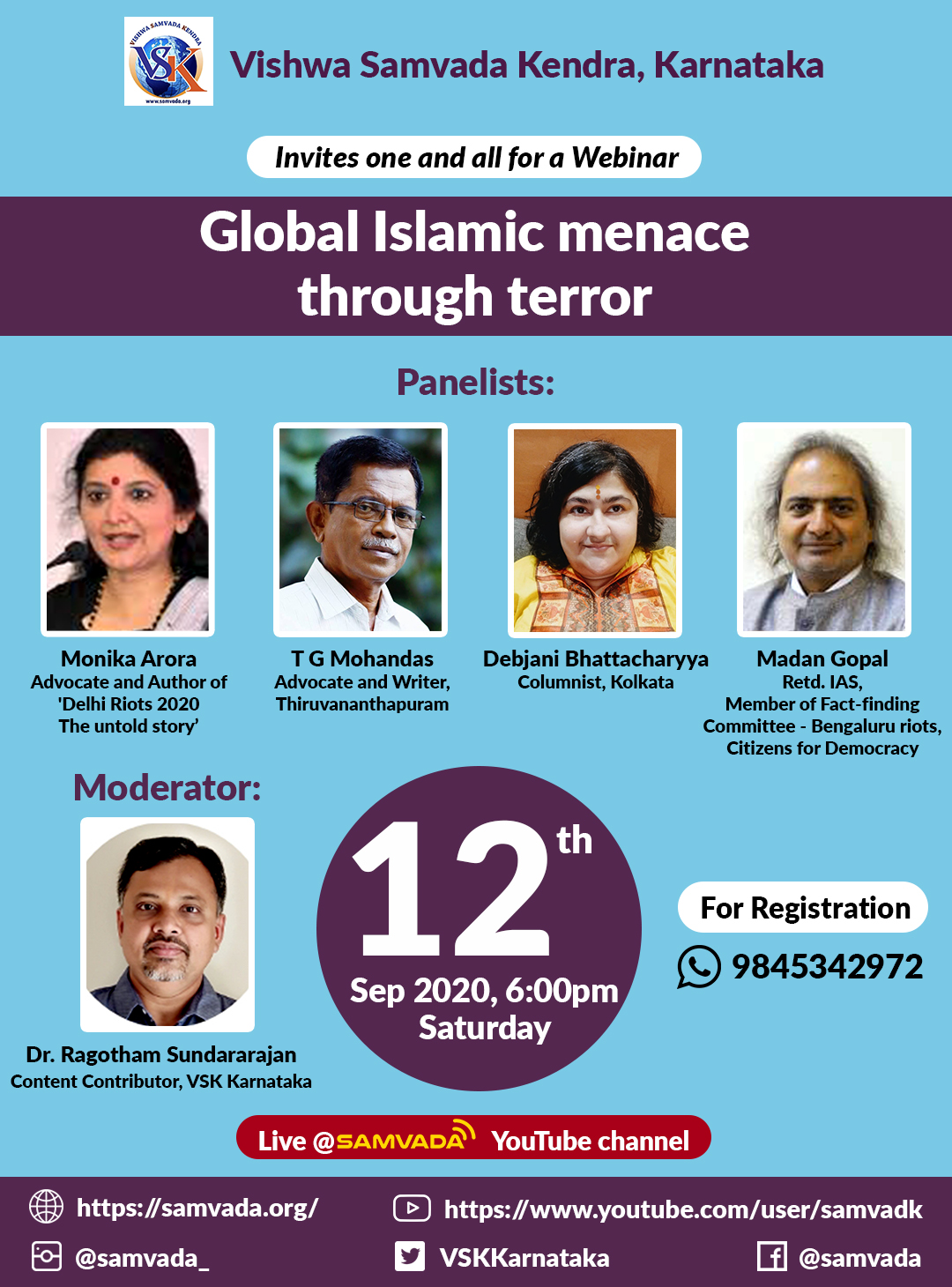 VSK Karnataka organises webinar to decipher reasons behind global Islamic terror : Sep 12 2020