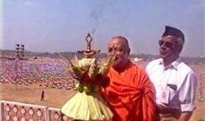 Balagangadhara Swamiji inaugurating the mammoth RSS Conclave Samarasata Sangam in 2002 at Nagawara, Bangalore