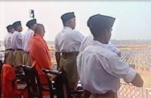 Balagangadhara Swamiji at  inaugural ceremony of the mammoth RSS Conclave Samarasata Sangam in 2002 at Nagawara, Bangalore