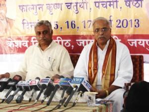 RSS General Secretary Bhaiyyaji Joshi addressing the media. RSS Akhil Bharatiya Prachar Pramukh Dr Manmohan Vaidya also seen