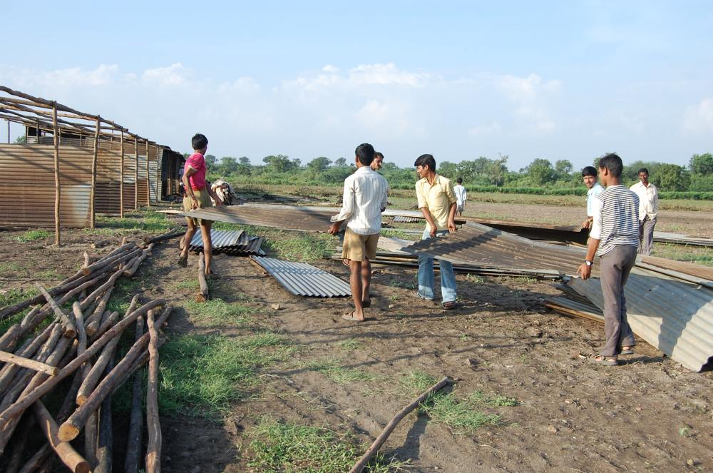 Flood relief work by RSS workers
