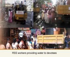 RSS Swayamsevaks providing water to devotees