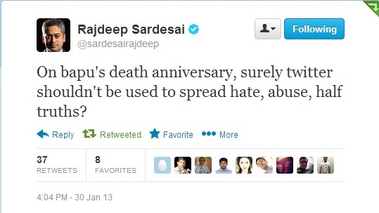 Rajdeep Sardesai on twitter slammed the attempt of few, to spread hate, half truth on Bapu's Birthday.