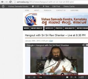 www.samvada.org webcasted live Google Hangout by Sri Sri Ravishankar