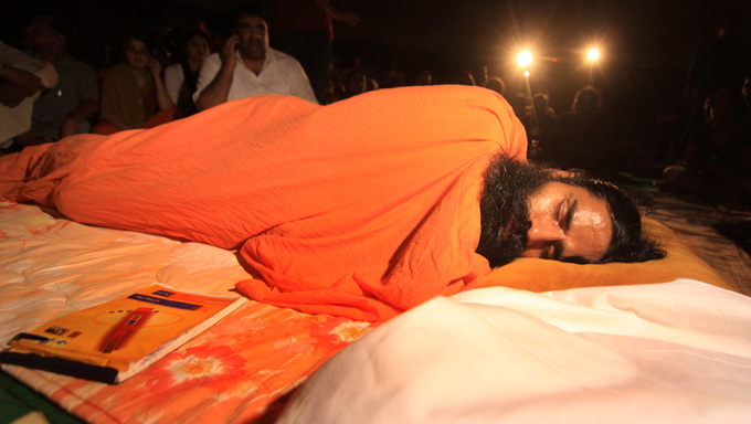 Baba Ramdev fasting on for the 8th day
