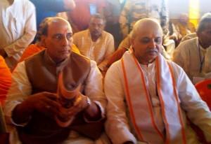 VHP President Dr Pravin Togadia and BJP President Rajnath Sing at Kumbh Mela, Prayag Feb-06-2013
